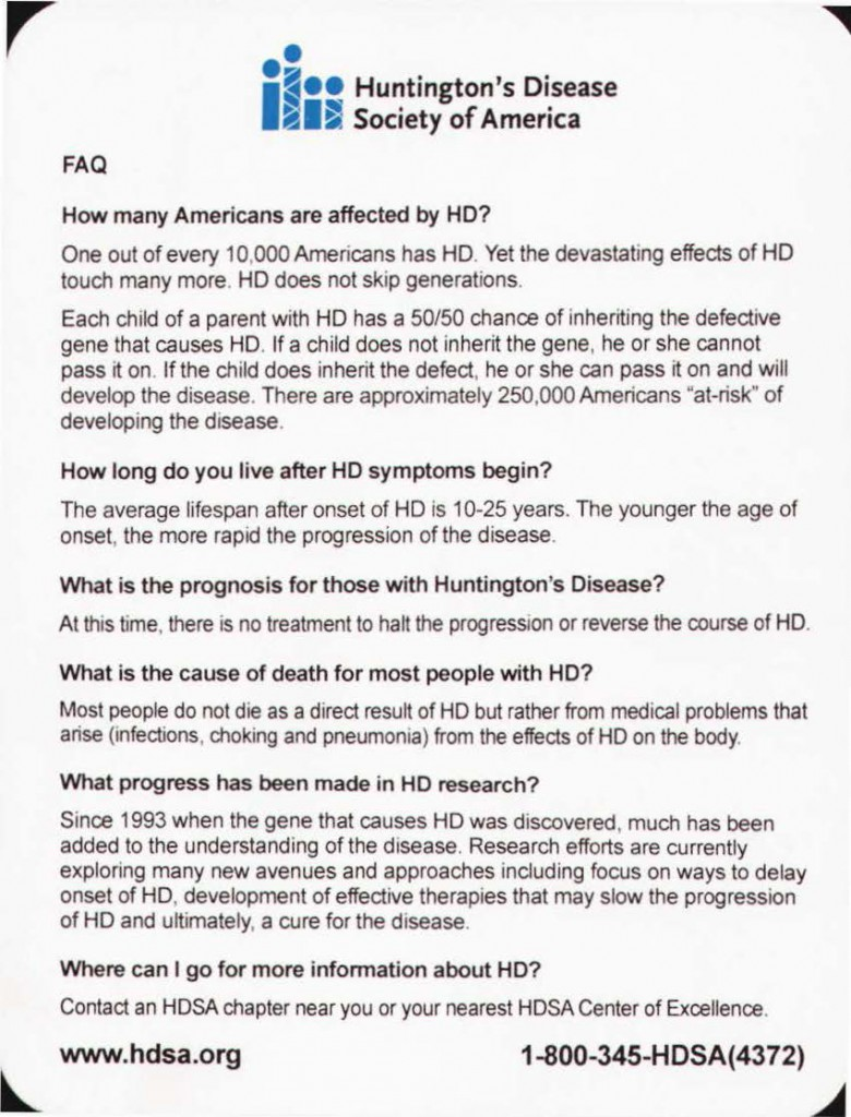 Huntington's disease FAQ_Page_1
