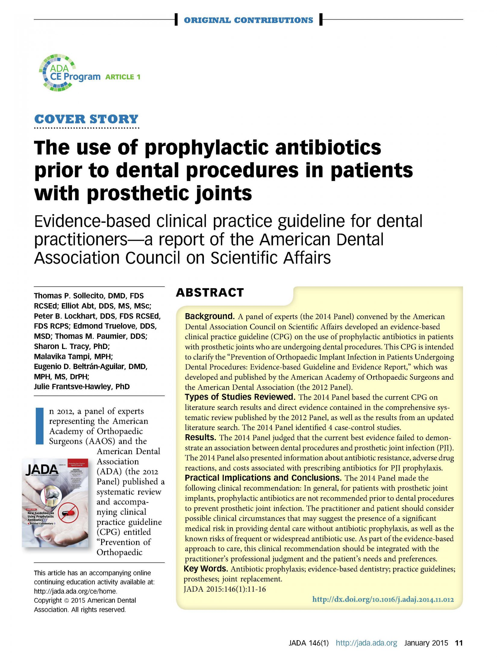 The use of prophylactic antibiotics prior to dental proc in patients with prosth joints 1-2015_Page_01