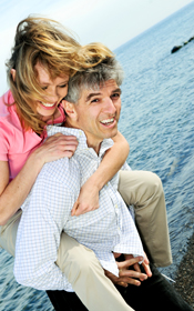 San Francisco couple loving their dental implants.
